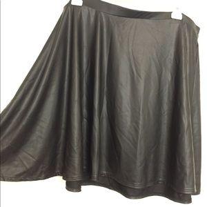 Black Skater Skirt (faux leather)